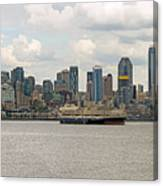 Seattle City Skyline Along Elliott Bay Canvas Print
