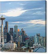 Seattle City Skyline At Dusk Panorama Canvas Print