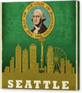 Seattle City Skyline State Flag Of Washington Art Poster Series 017 Canvas Print