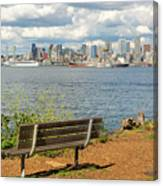 Seattle City Skyline View From Alki Beach Canvas Print