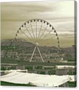 Seattle Great Wheel And Pier 57 Canvas Print