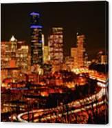 Seattle Night Traffic Canvas Print