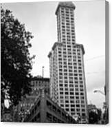 Seattle - Pioneer Square Tower Bw Canvas Print