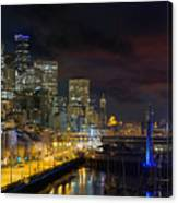 Seattle Skyline By The Pier Canvas Print