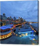 Seattle Skyline From The Waterfront At Blue Hour Canvas Print