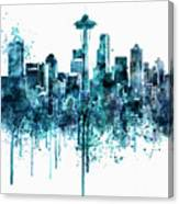 Seattle Skyline Monochrome Watercolor Canvas Print