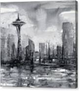 Seattle Skyline Painting Watercolor  Canvas Print