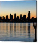 Seattle Skyline Silhouette At Sunrise From The Pier Canvas Print