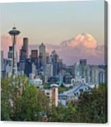 Seattle Washington City Skyline At Sunset Canvas Print
