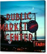 Seattle's Public Market Center At Sunset Canvas Print