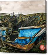 An Old Boat Turned In A Fyke Storage Place. Second Life.i Found This Near The Sea In Uig, Scotland. Canvas Print