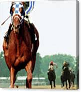Secretariat Winning The Belmont Stakes, Jockey Ron Turcotte Looking Back, 1973 Canvas Print