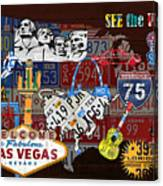 See The Usa Vintage Travel Map Recycled License Plate Art Of American Landmarks Canvas Print