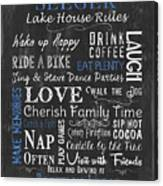 Seeger Lake House Rules Canvas Print