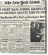 Segregation Headline, 1954 Canvas Print