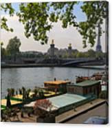 Seine Barges In Paris In Spring Canvas Print
