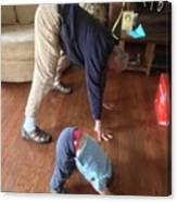 Self Portrait 8 - Downward Dog With Grandson Max On His 2nd Birthday Canvas Print