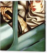 Self Portrait In A Green Bugatti Canvas Print