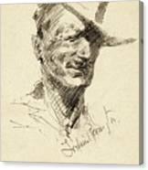 Self Portrait Of Frederic Remington Canvas Print