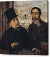 Self Portrait With Evariste De Valernes Canvas Print