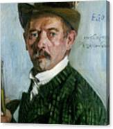 Self Portrait With Tyrolean Hat Canvas Print