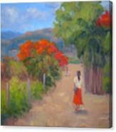 Senorita In A Red Skirt Canvas Print