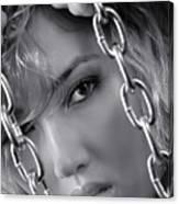Sensual Woman Face Behind Chains Canvas Print