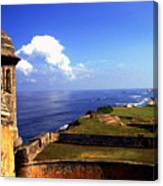 Sentry Box And Sea Castillo De San Cristobal Canvas Print