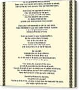 Sepia Chain Desiderata Poem Canvas Print