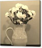 Sepia Gold Pitcher Of Carnations Canvas Print