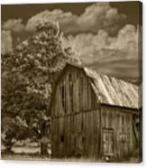 Sepia Michigan Barn Landscape Canvas Print