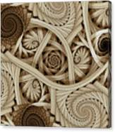 Sepia Swirls Fractal Art Canvas Print