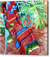 Serape On Wrought Iron Chair I Canvas Print