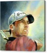 Sergio Garcia In The Castello Masters Canvas Print