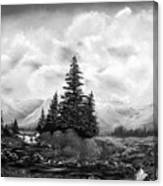 Serpentine Creek In Black And White Canvas Print