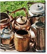 Set Of Ancient Teapots  Canvas Print