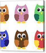Set Of Six Little Owlets Canvas Print