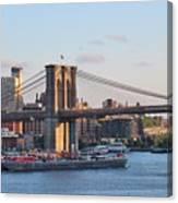 Setting Sun On Brooklyn Bridge Canvas Print
