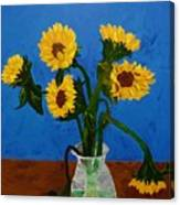 Seven Sunflowers In Vase Canvas Print