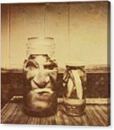 Severed And Preserved Head And Hand In Jars Canvas Print