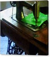 Sewing Machine With Green Cloth Canvas Print