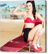 Sexy Beach Pin Up Girl Wearing High Heels Canvas Print