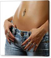 Sexy Woman With Pierced Belly In Blue Jeans Canvas Print