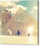 Shabby Chic Louvre Museum Paris Canvas Print