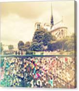 Shabby Chic Love Locks Near Notre Dame Paris Canvas Print