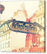 Shabby Chic Moulin Rouge Metro Sign Paris Canvas Print