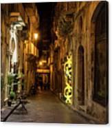 Shabby Chic - Small Street Night Walk In Syracuse Sicily Canvas Print