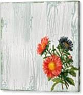 Shabby Chic Wildflowers On Wood Canvas Print