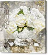 Shabby White Roses With Gold Glitter Canvas Print