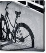 Shadow Of A Bike At Carolina Beach Canvas Print